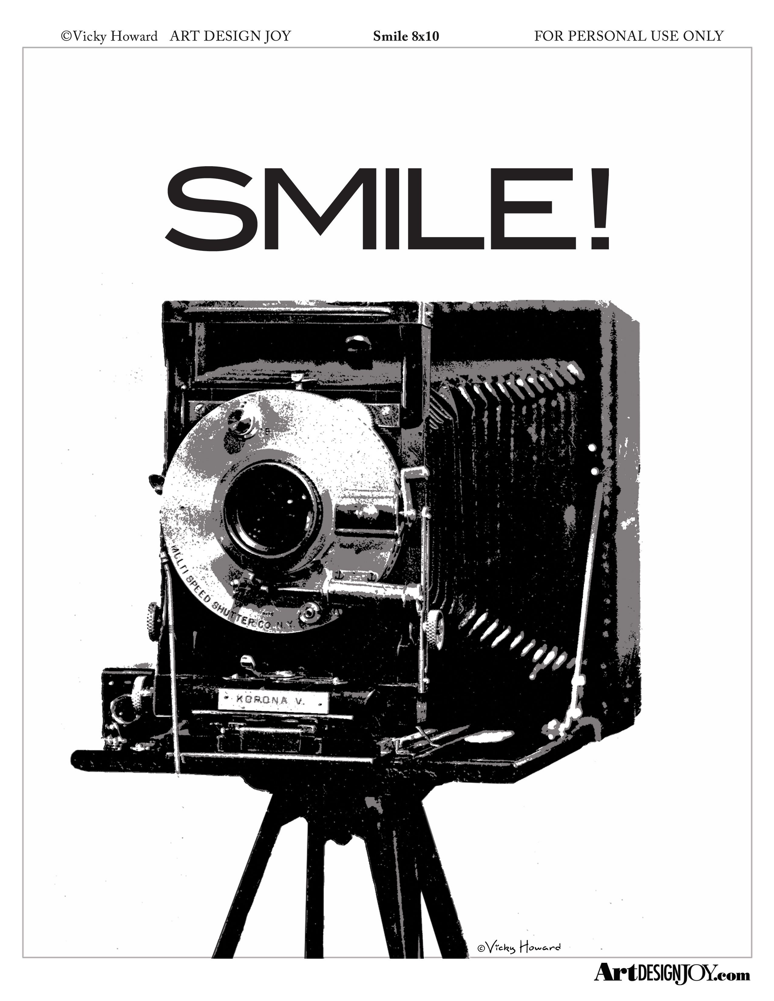 Free Vintage Camera Printable Available In Black & White Freebies At - Free Printable Smile Your On Camera