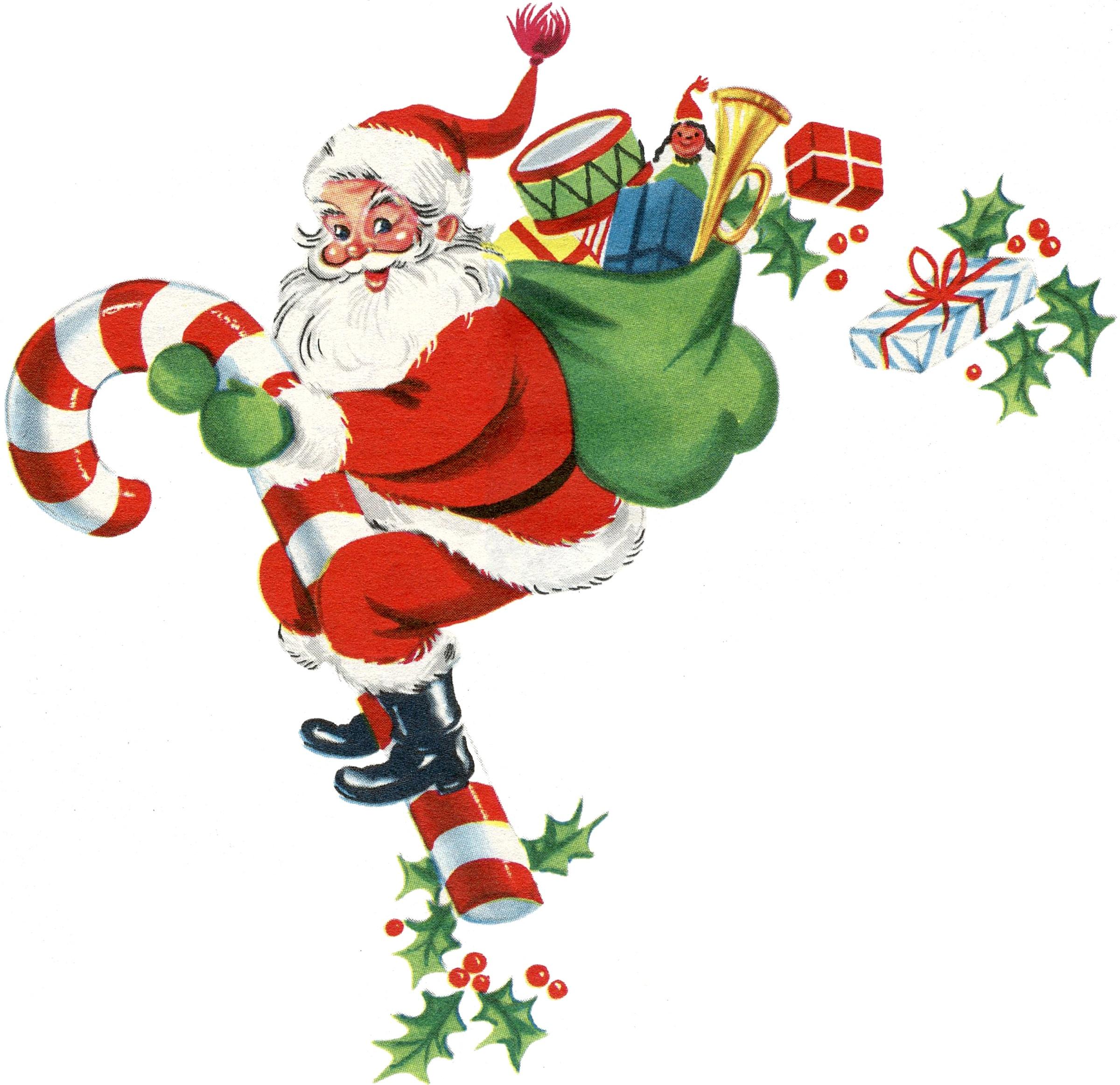 Free Vintage Clip Art - Santa, Santa, Santa! - The Graphics Fairy - Free Printable Vintage Christmas Clip Art