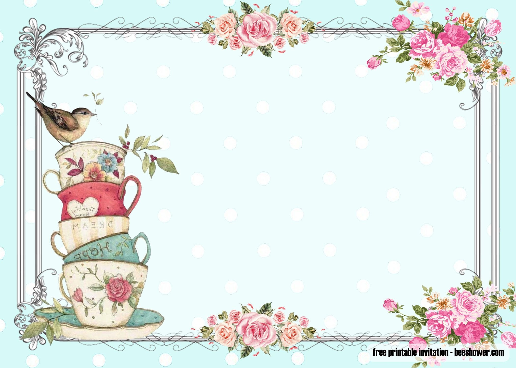 Free Vintage Tea Party Baby Shower | Free Printable Birthday - Free Printable Vintage Tea Party Invitations
