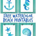 Free Watercolor Beach Printables   Free Watercolor Printables