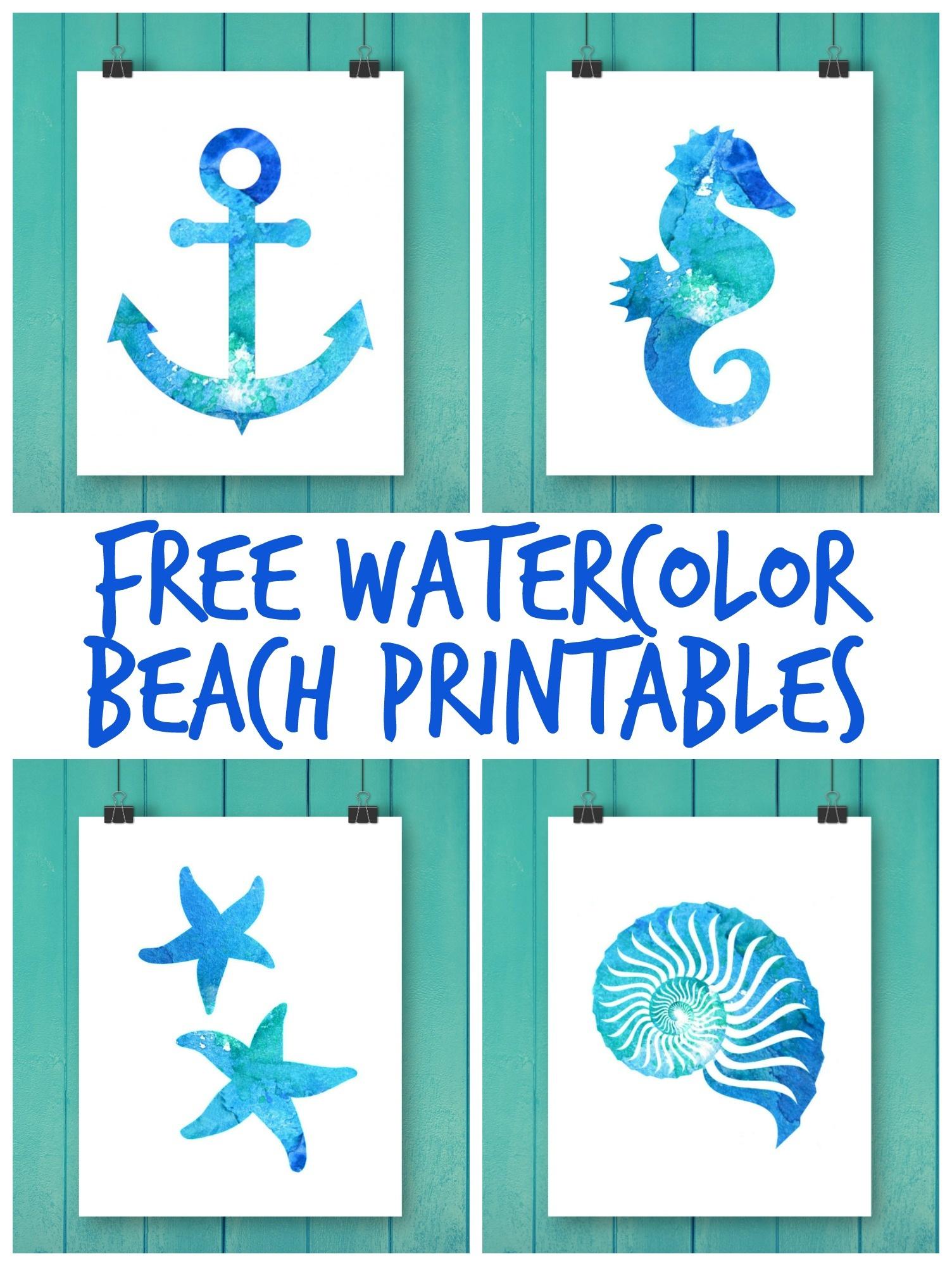 Free Watercolor Beach Printables - Free Watercolor Printables