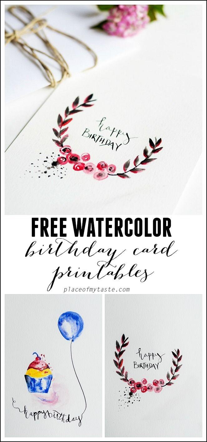 Free Watercolor Birthday Card Printables | Printables | Watercolor - Free Printable Birthday Scrolls
