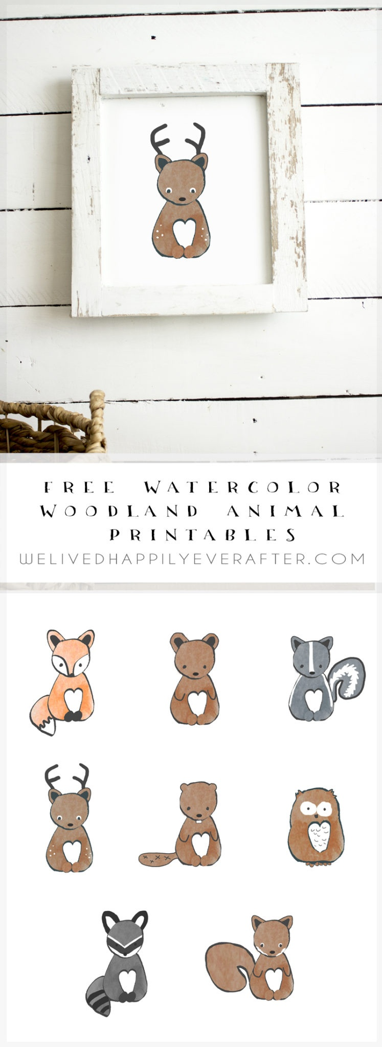 Free Watercolor Forest Woodland Animal Nursery Prints | We Lived - Free Woodland Animal Printables