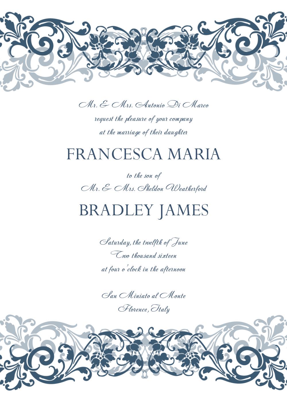 Free Wedding Invitation Templates For Word   Wedding Invitation - Free Printable Wedding Invitations
