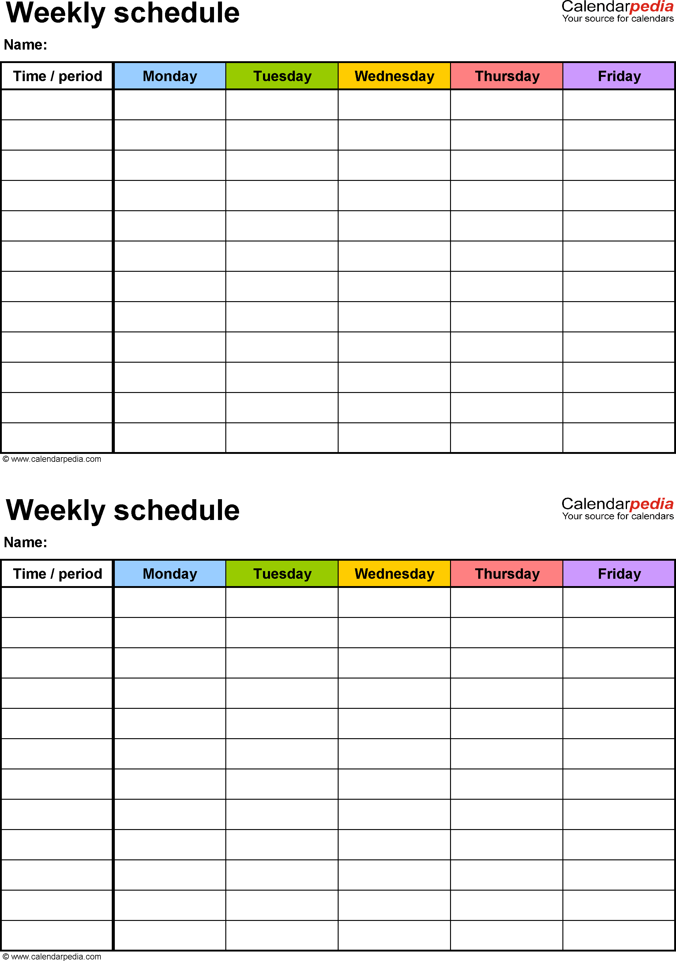 Free Weekly Schedule Templates For Word - 18 Templates - Free Printable Work Schedule Maker