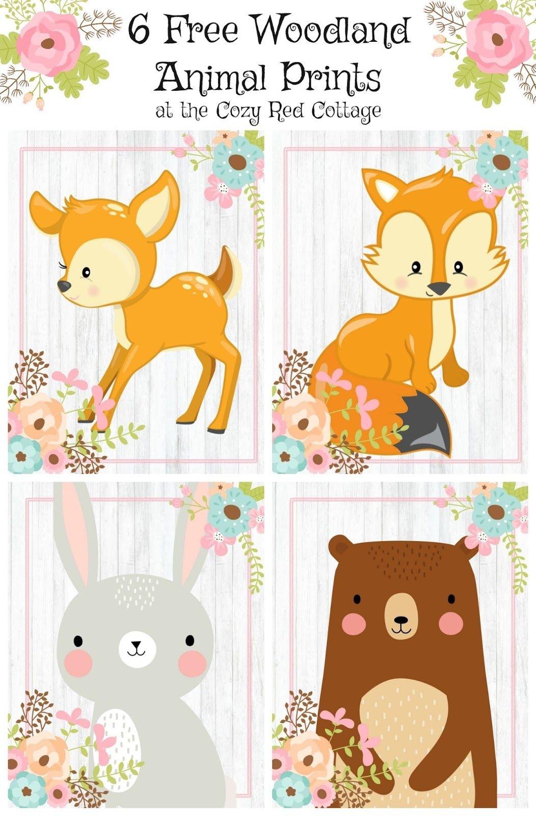 Free Woodland Animal Prints (Floral Set) | Pre-K | Free Baby Shower - Free Woodland Animal Printables