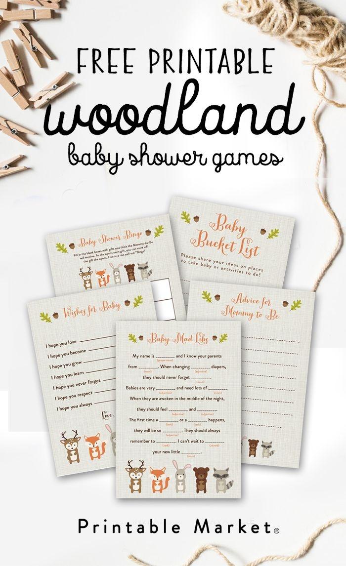 Free Woodland Fox Baby Shower Games Printable Package Instant - Free Woodland Baby Shower Printables