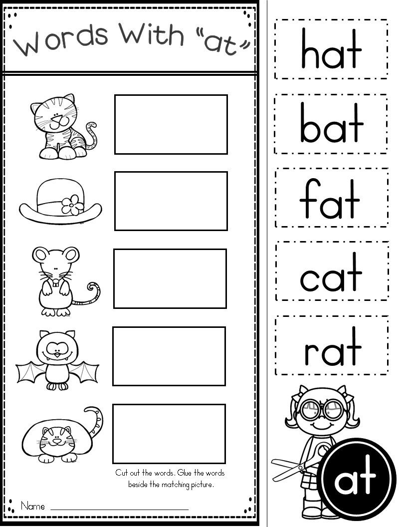 Free Word Family At Practice Printables And Activities | Preschool - Free Printable Word Family Worksheets For Kindergarten