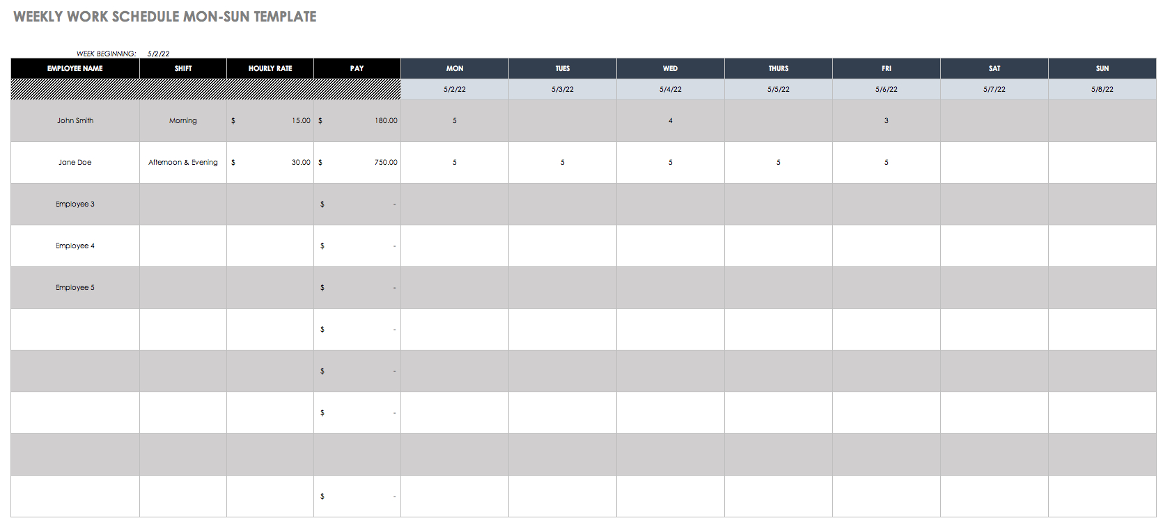Free Work Schedule Templates For Word And Excel - Free Printable Work Schedule Maker