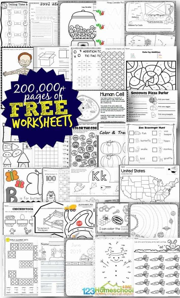 Free Worksheets - 200,000+ For Prek-6Th | 123 Homeschool 4 Me - Free Printable Work Sheets