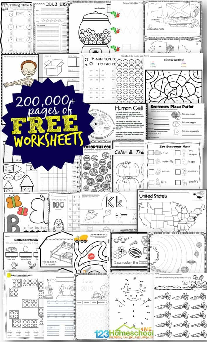 Free Worksheets - 200,000+ For Prek-6Th | 123 Homeschool 4 Me - Free Printables Com