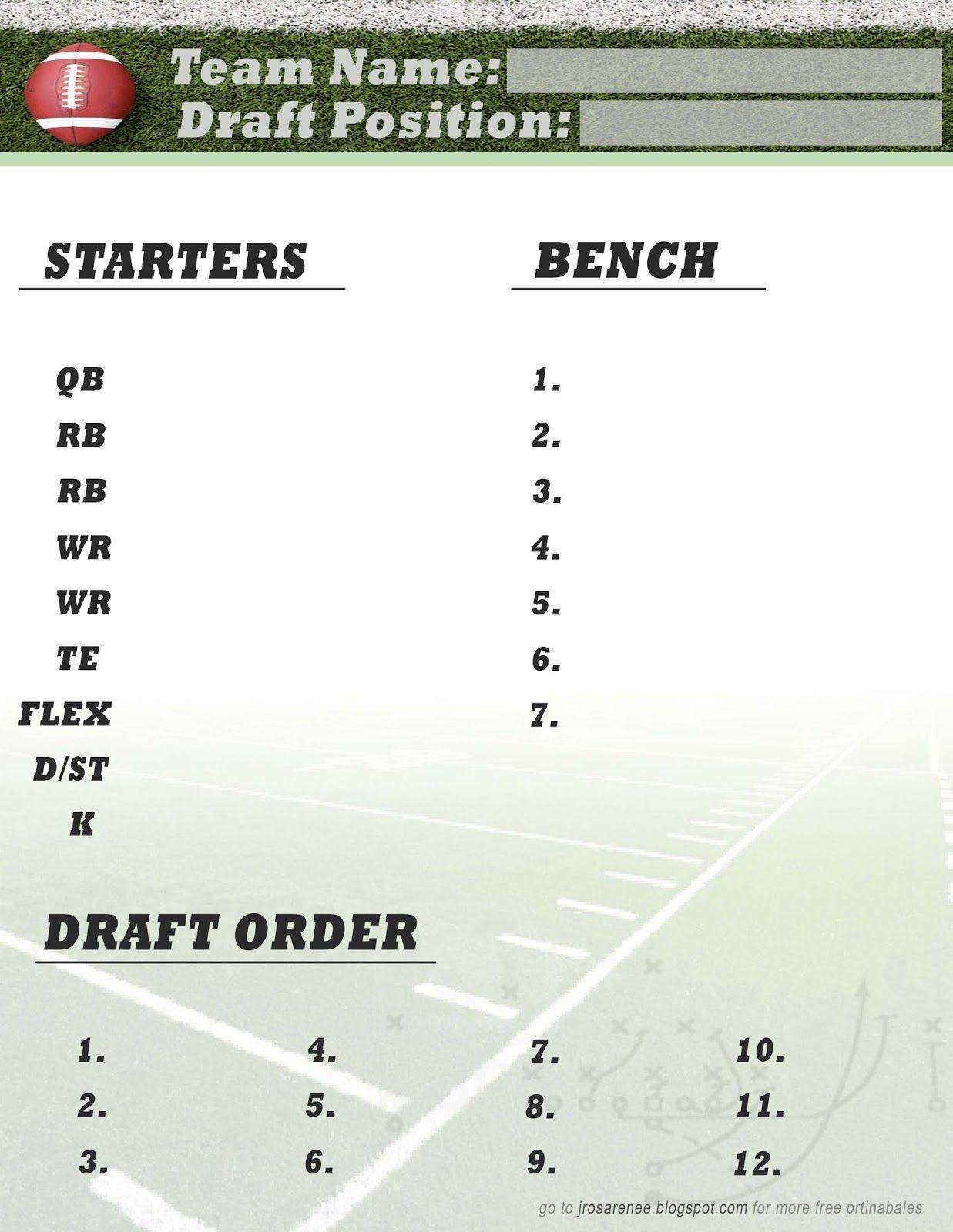 Freebie Friday, Fantasy Football Roster #free #printable | Great - Free Fantasy Football Printable Draft Sheets