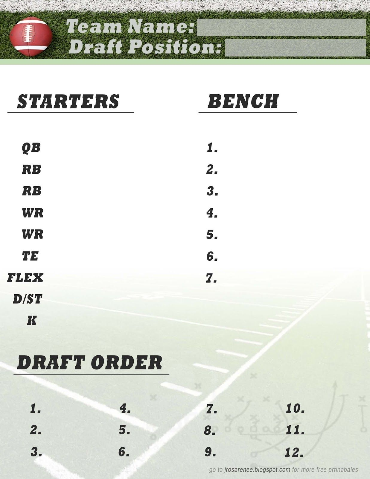 Freebie Friday, Fantasy Football Roster #free #printable | Great - Free Printable Fantasy Football Cheat Sheets