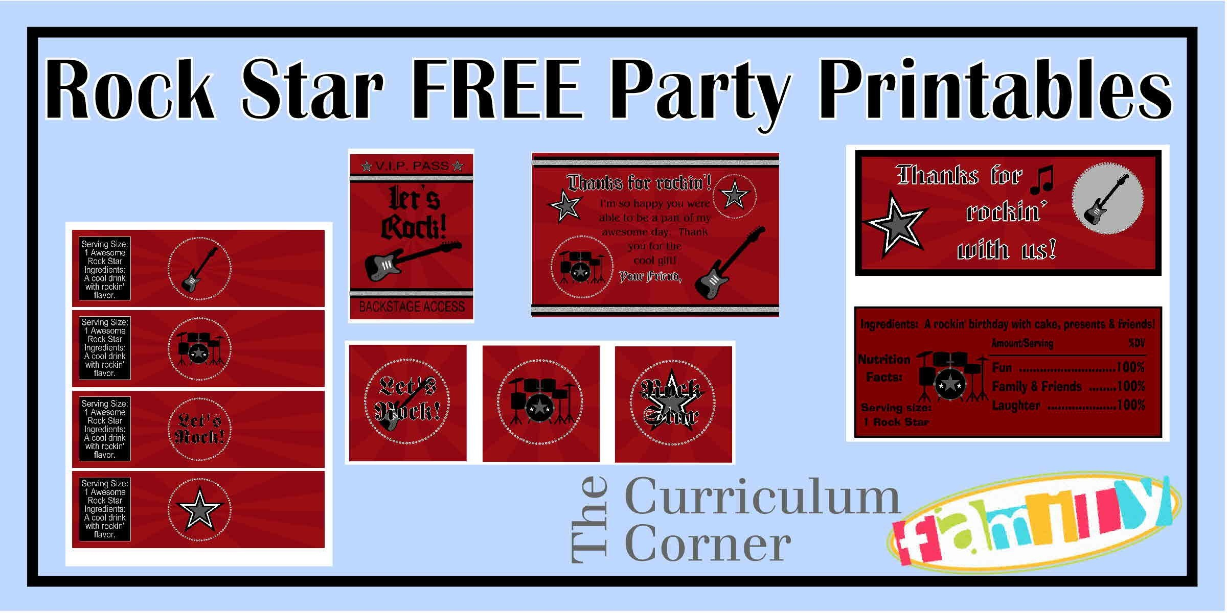 Freebie Rock Star Party Printables For Your Rock Star's Birthday - Free Printable Rockstar Birthday Invitations