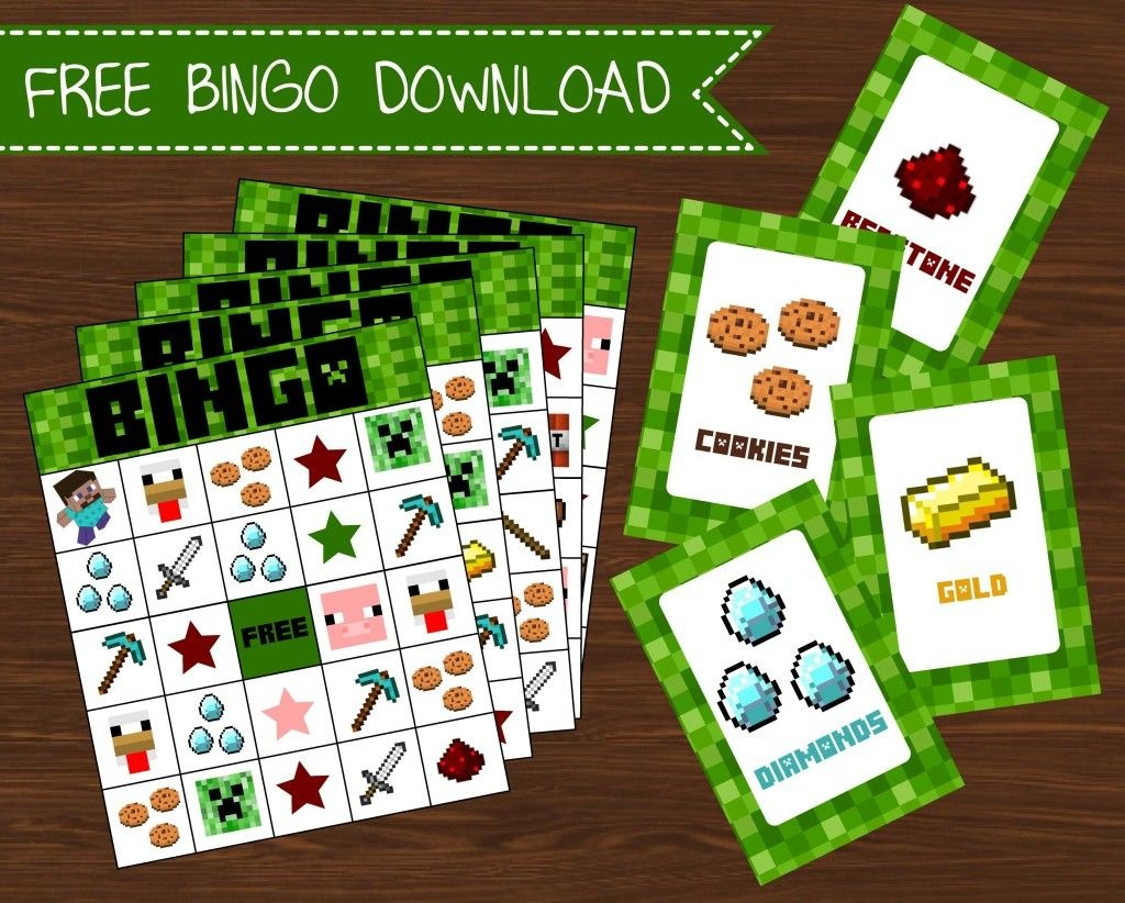 Freebies | Kid Stuff | Minecraft Party Games, Minecraft Birthday - Free Printable Minecraft Bingo Cards