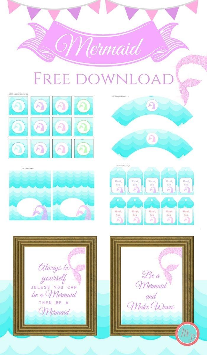 Freebies | Printables | Mermaid Party Decorations, Mermaid Parties - Free Printable Mermaid Thank You Cards