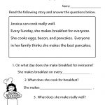 Freeeducation/worksheets For Second Grade |  Comprehension   Free Reading Printables For 1St Grade