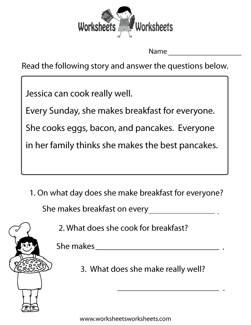 Freeeducation/worksheets For Second Grade |  Comprehension - Free Reading Printables For 1St Grade