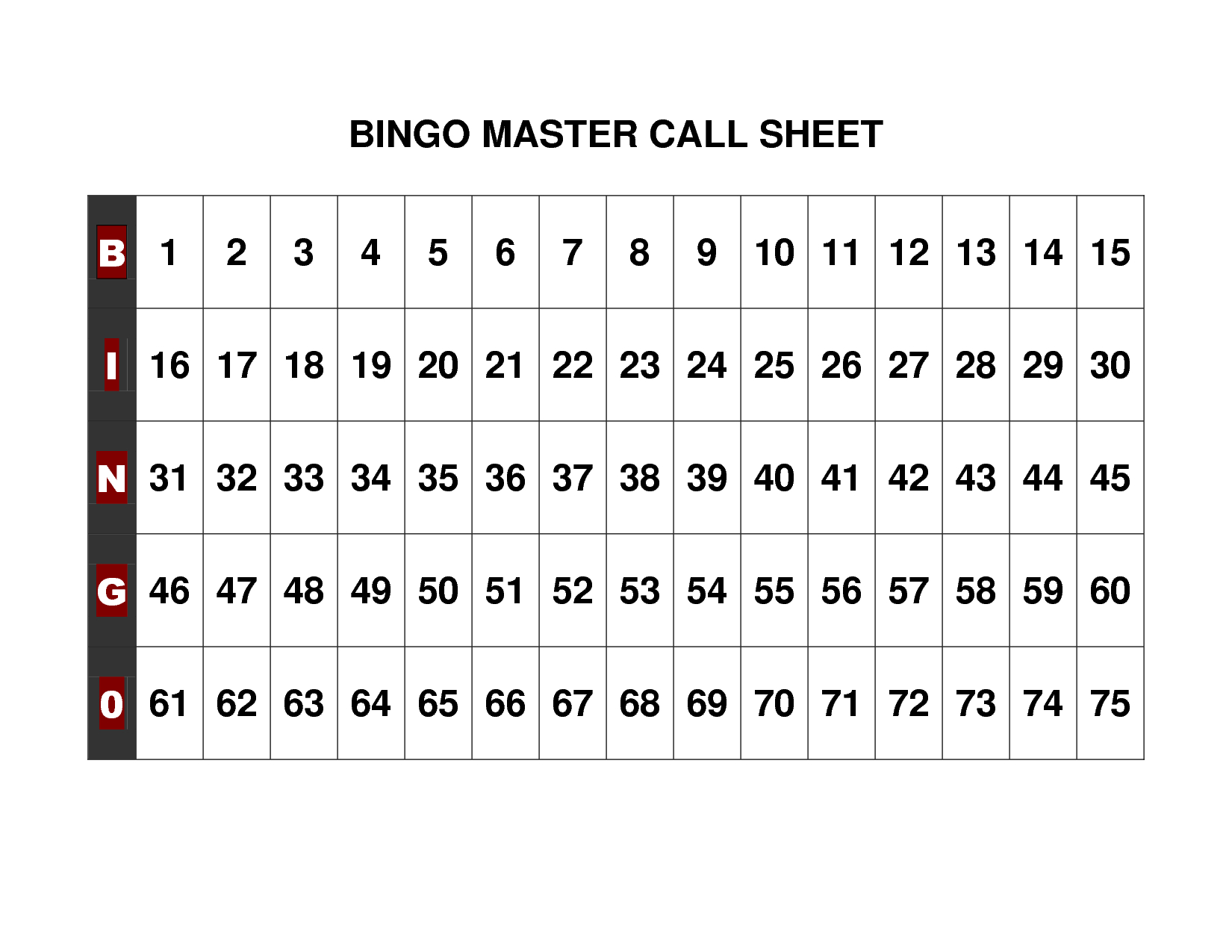 Free+Printable+Bingo+Call+Sheet | Bingo | Bingo Calls, Bingo, Free - Free Printable Bingo Cards Random Numbers