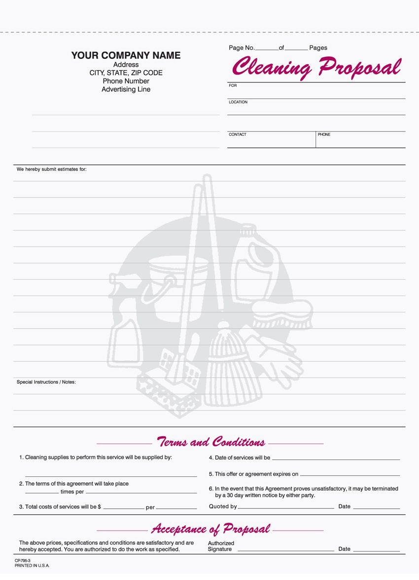 Free+Printable+Cleaning+Proposal+Forms   Monthly Budget   Cleaning - Free Printable Proposal Forms