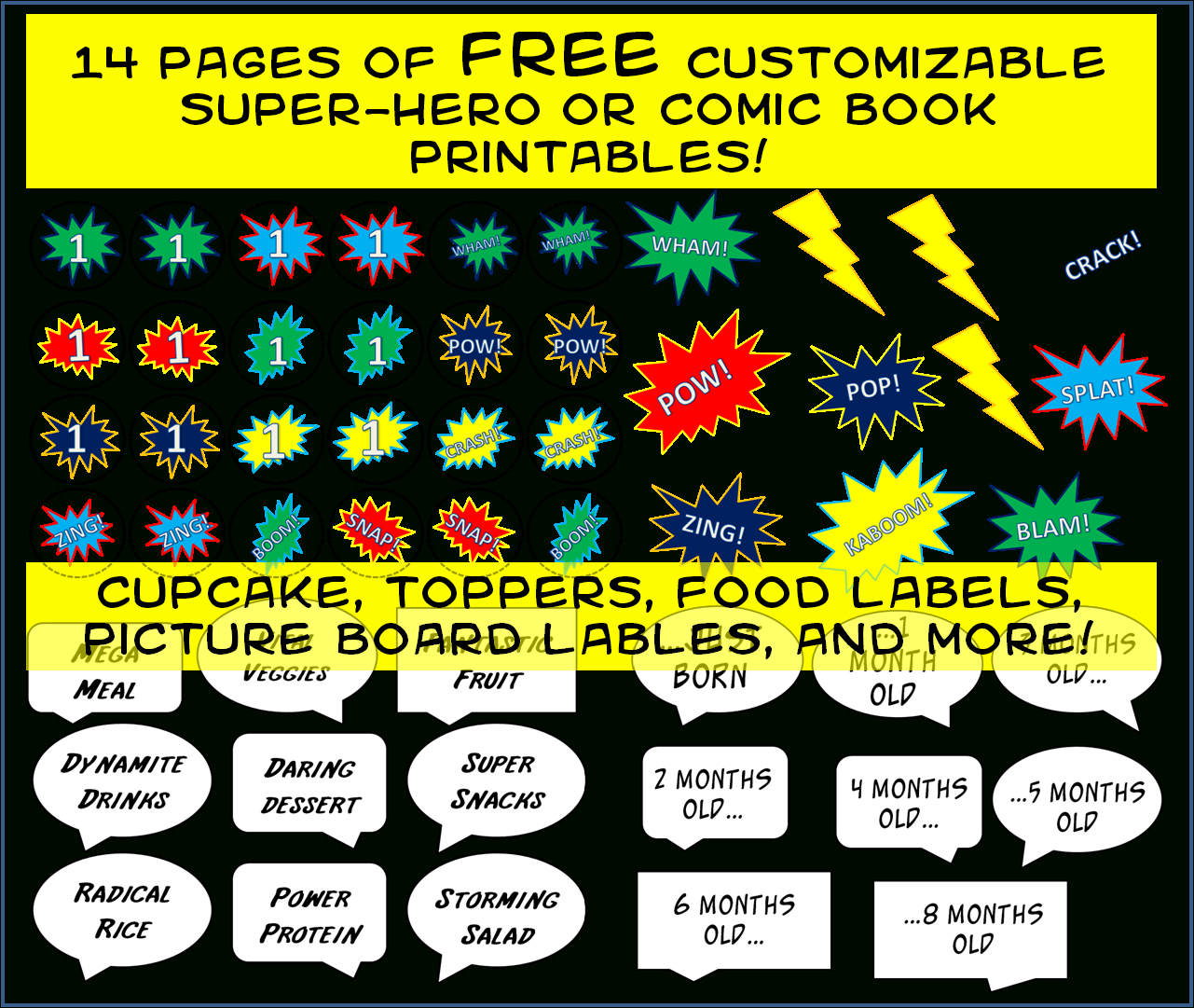 Friday Freebie – Comic Book Super-Hero Party Printables - Free Superhero Party Printables