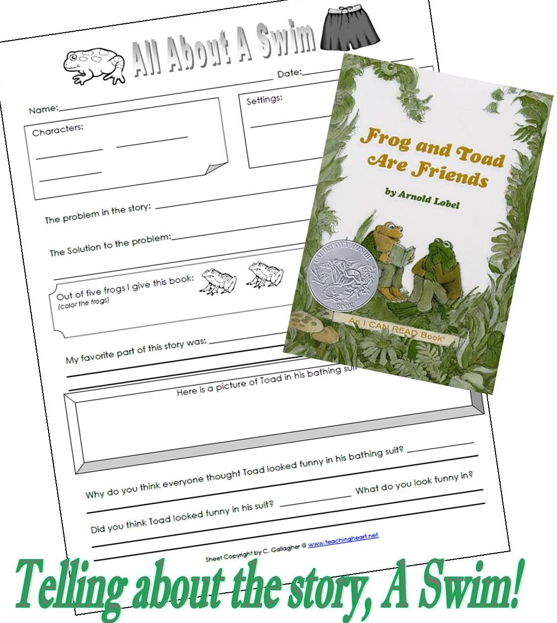 Frog And Toad Are Friends ; A Swim! - Teaching Heart Blog Teaching - Free Frog And Toad Are Friends Printables