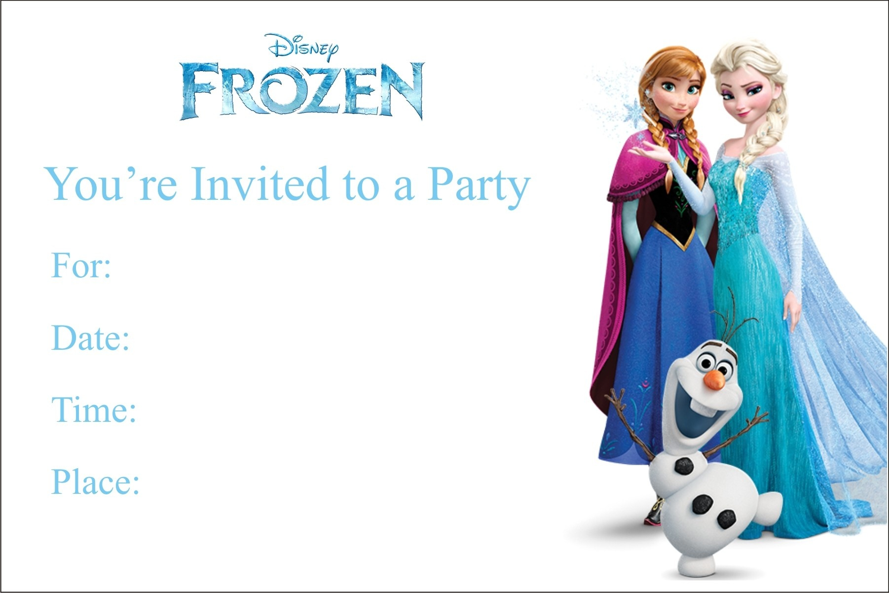 Frozen Free Printable Birthday Party Invitation Personalized Party - Free Printable Birthday Invitation Cards