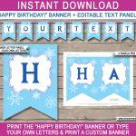 Frozen Party Banner Template | Birthday Banner | Editable Bunting   Frozen Birthday Banner Printable Free