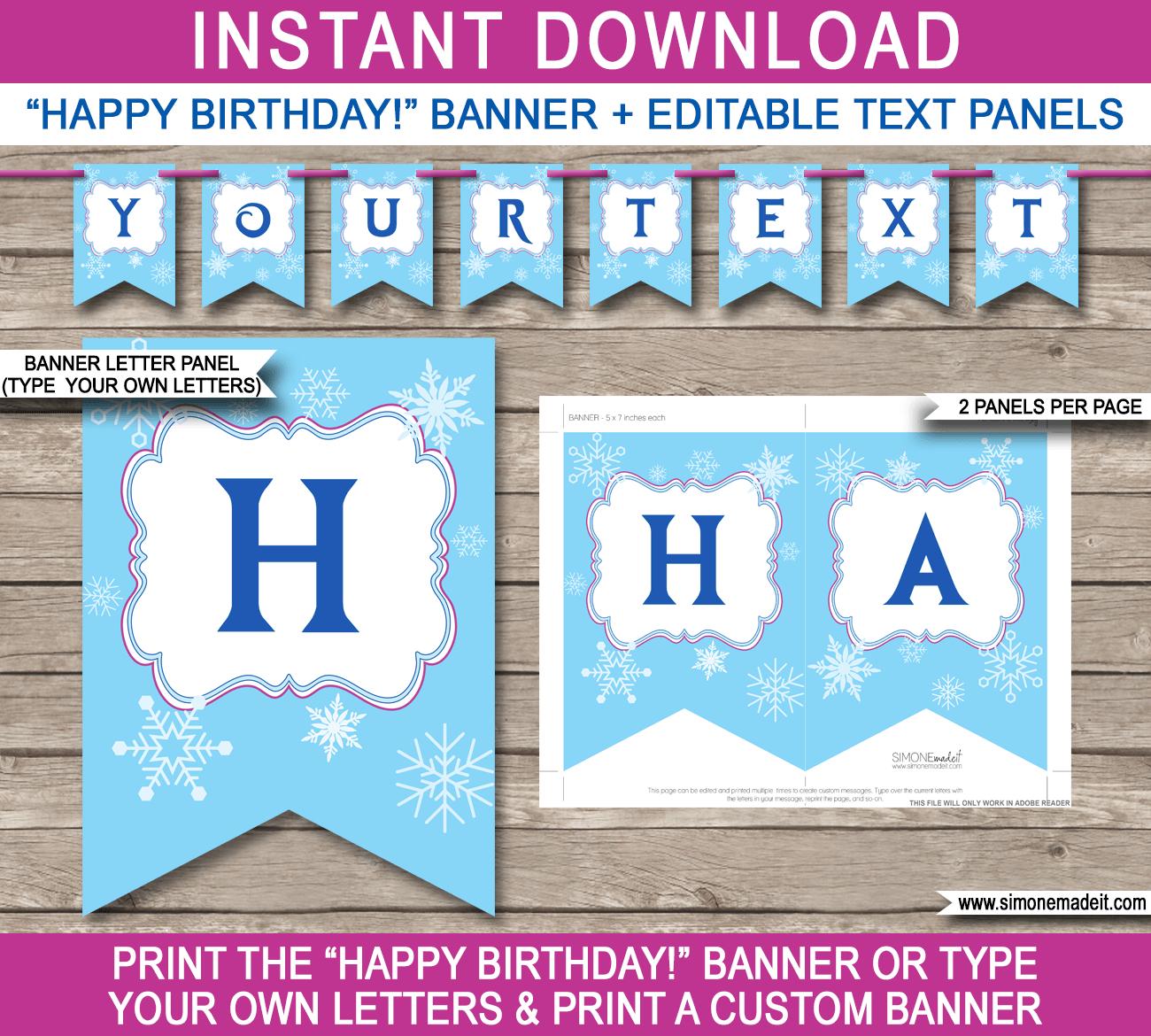 Frozen Party Banner Template - Frozen Happy Birthday Banner Free Printable