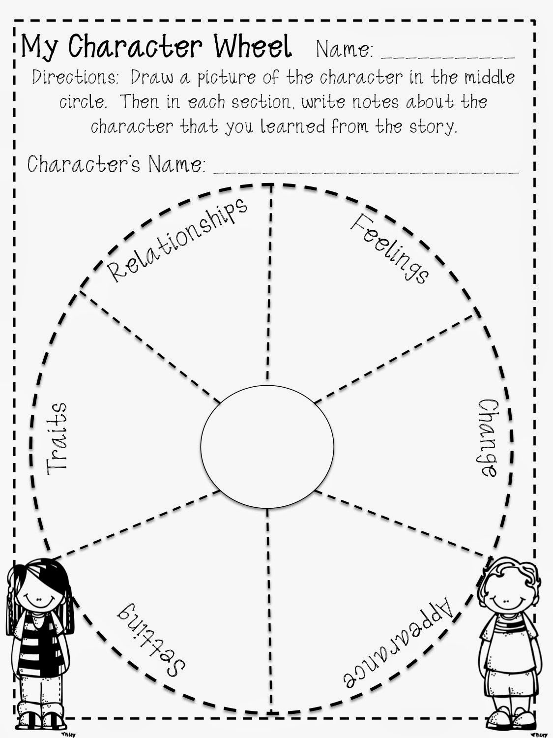 Fun Character Wheel Printable For Any Book! Free!   Teaching 4/5 - Free Printable Character Traits Graphic Organizer