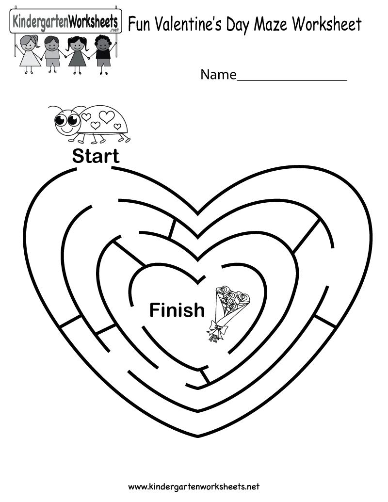 Fun Valentine's Day Maze Worksheet - Free Kindergarten Holiday - Free Printable Valentine Activities For Kindergarten