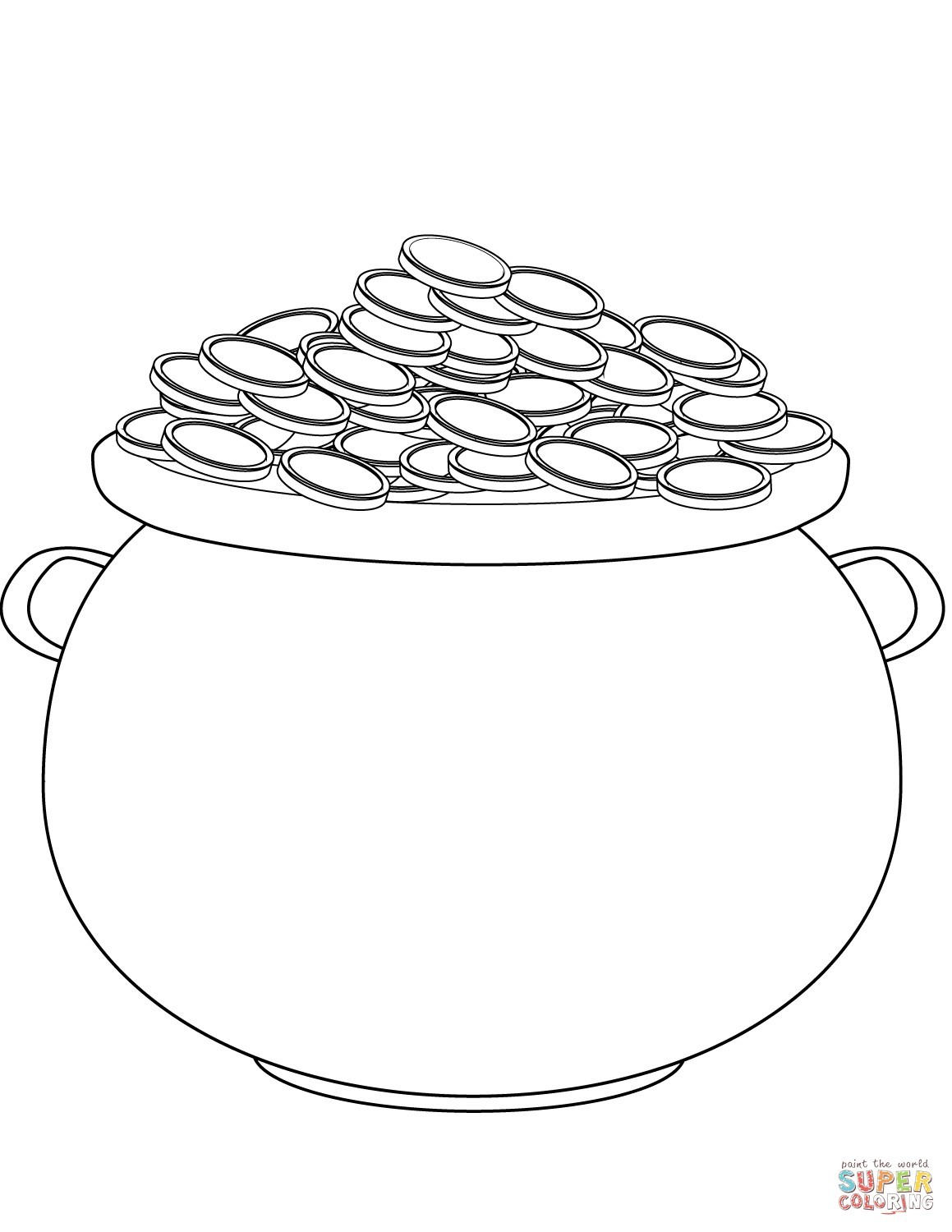 Fundamentals Pot Of Gold Coloring Page Printable Category Pages 117 - Pot Of Gold Template Free Printable