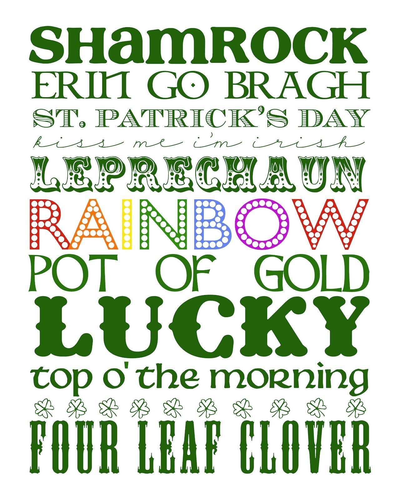 Funky Polkadot Giraffe: {Lucky} Stuff: St. Patrick's Day Subway Art - Free St Patrick's Day Subway Art Printables