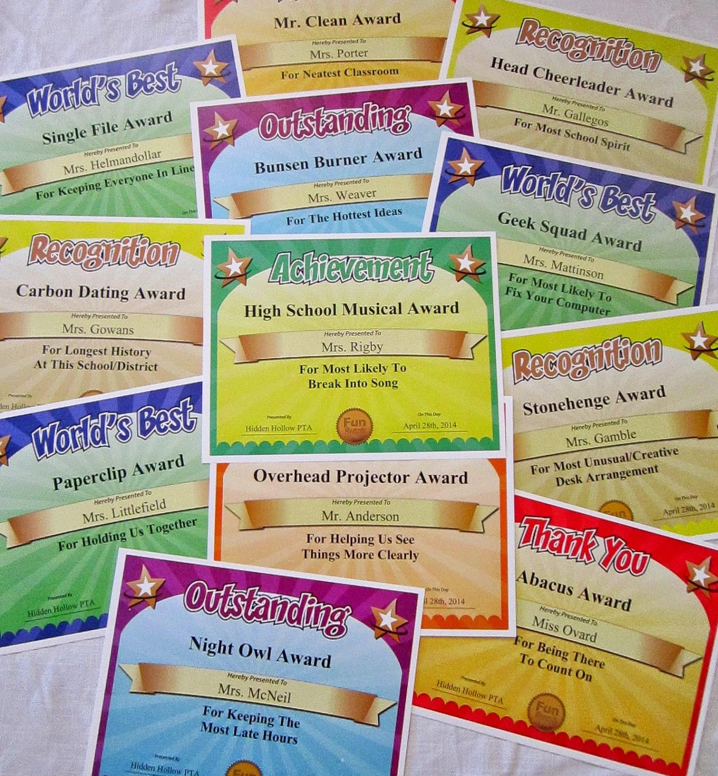 Funny Award Ideas - Free Printable Funny Office Awards