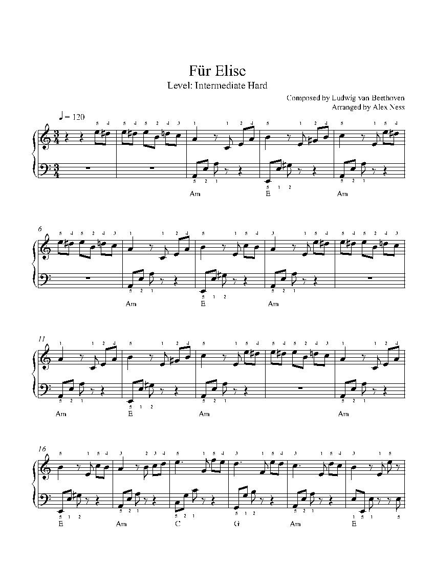 Für Eliseludwig Van Beethoven Piano Sheet Music | Intermediate Level - Free Printable Piano Sheet Music Fur Elise