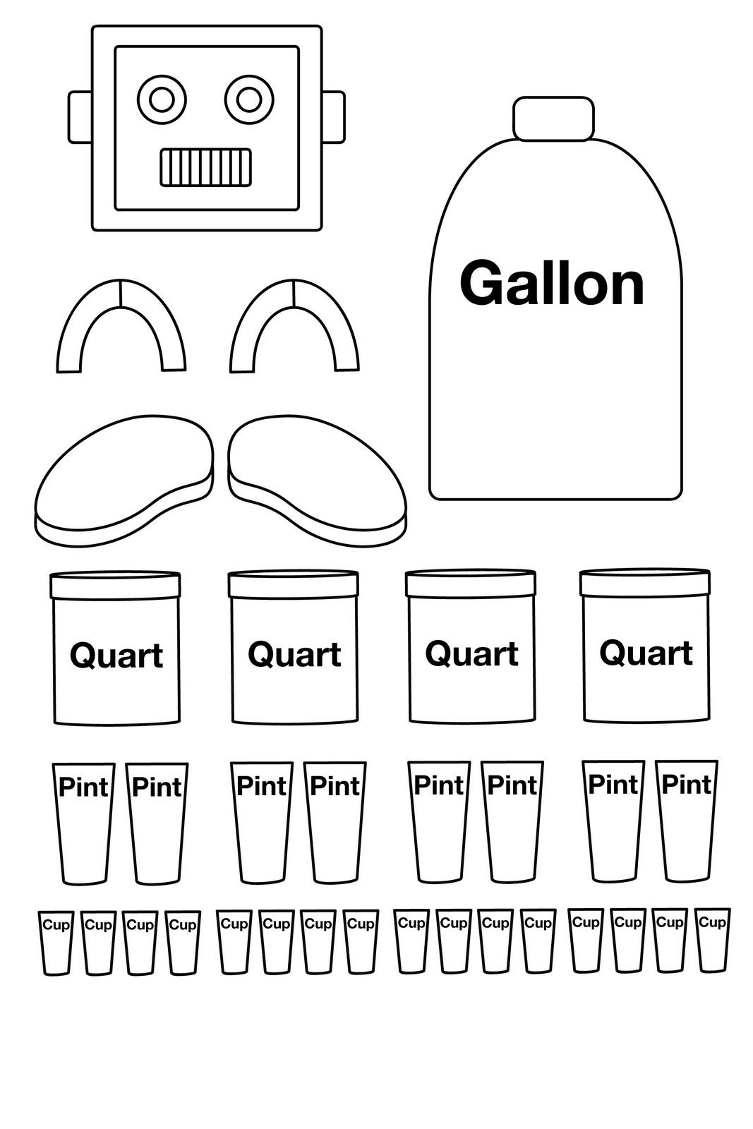 Gallon Robot To Color Put Together. There Is Also One Already - Gallon Bot Printable Free