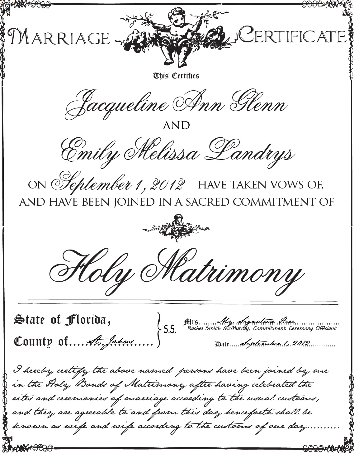 Gay Wedding - Lesbian Wedding And Commitment Ceremony Choices | Best - Commitment Certificate Free Printable