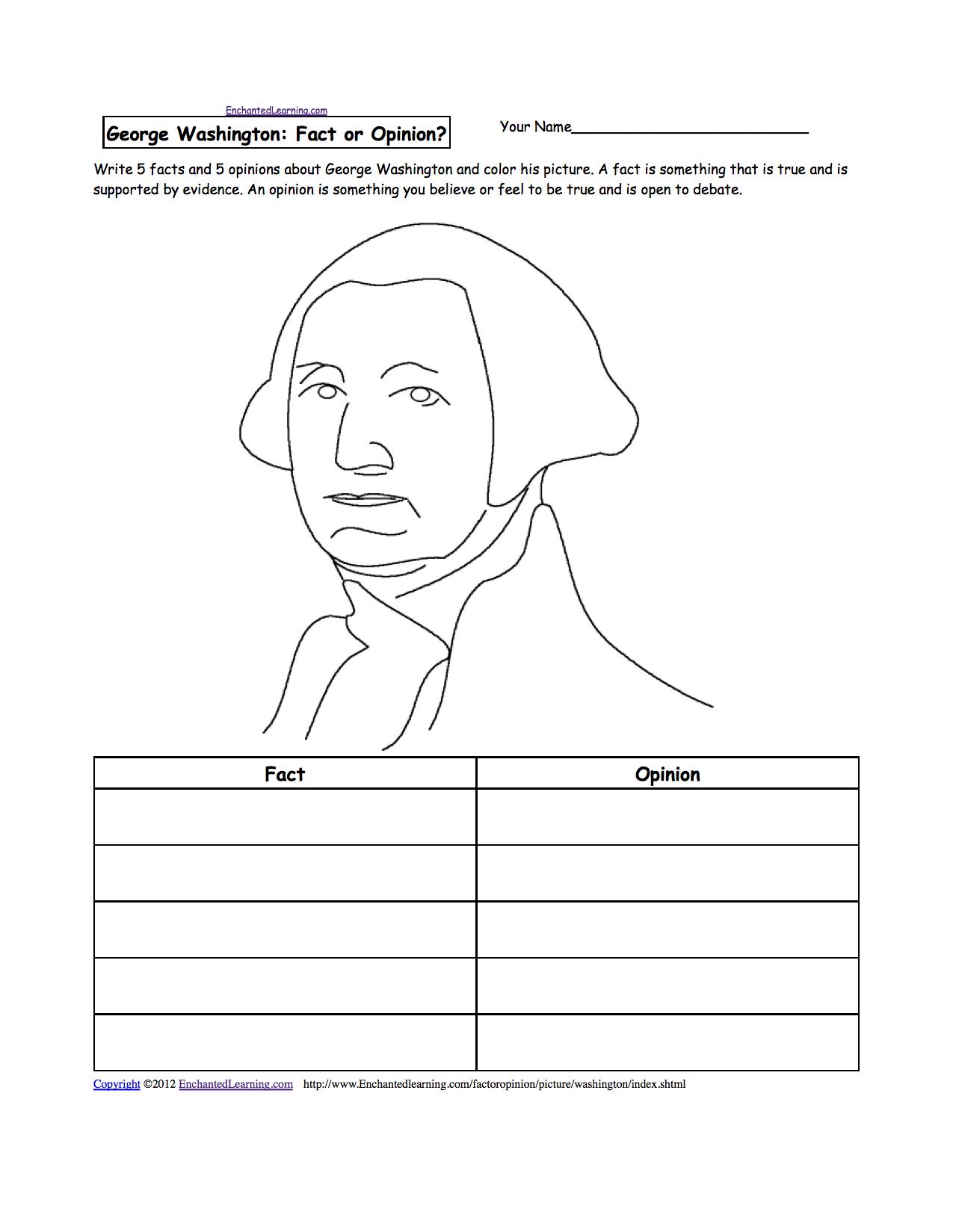 George Washington - Enchantedlearning - Free Printable George Washington Worksheets