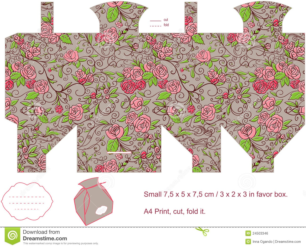 Gift Box Template Stock Vector. Illustration Of Floral - 24503346 - Free Printable Box Patterns