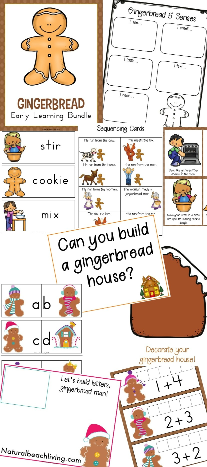 Gingerbread Man Preschool Emotions Printables - Natural Beach Living - Free Printable Gingerbread Man Activities