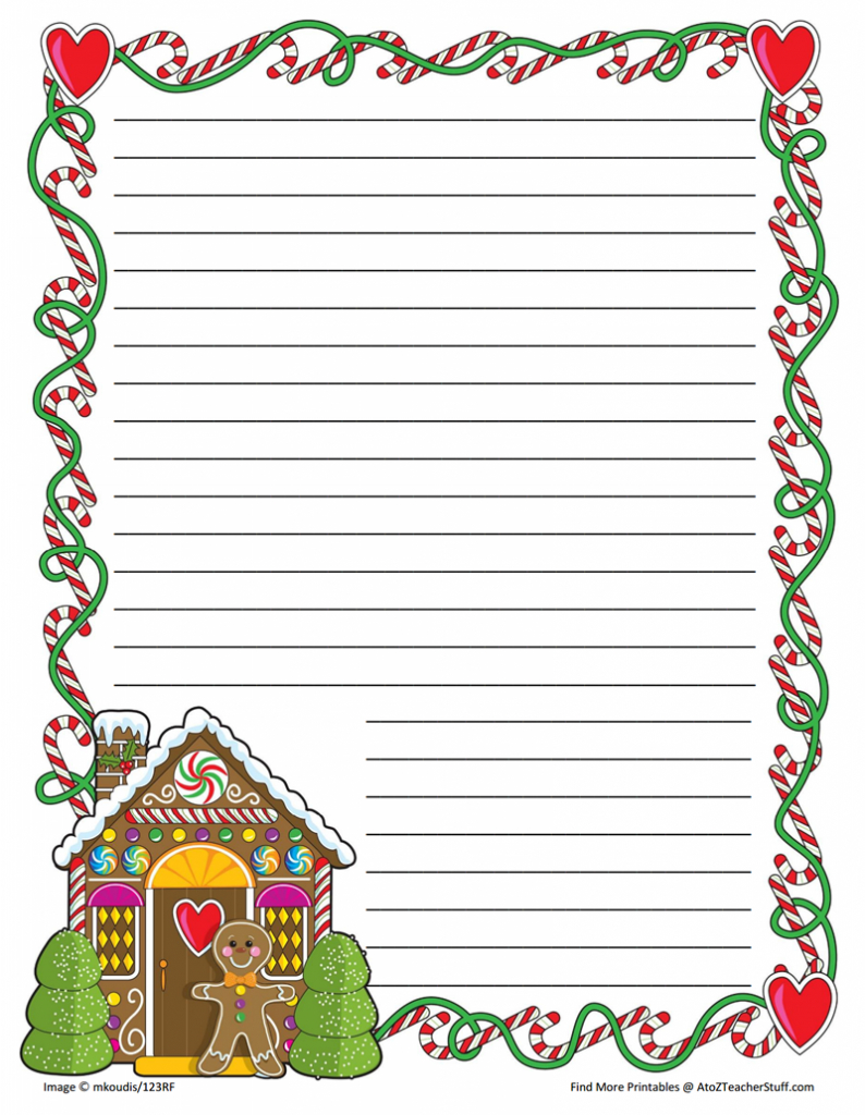 Gingerbread Printable Border Paper With And Without Lines   A To Z - Free Printable Thanksgiving Writing Paper