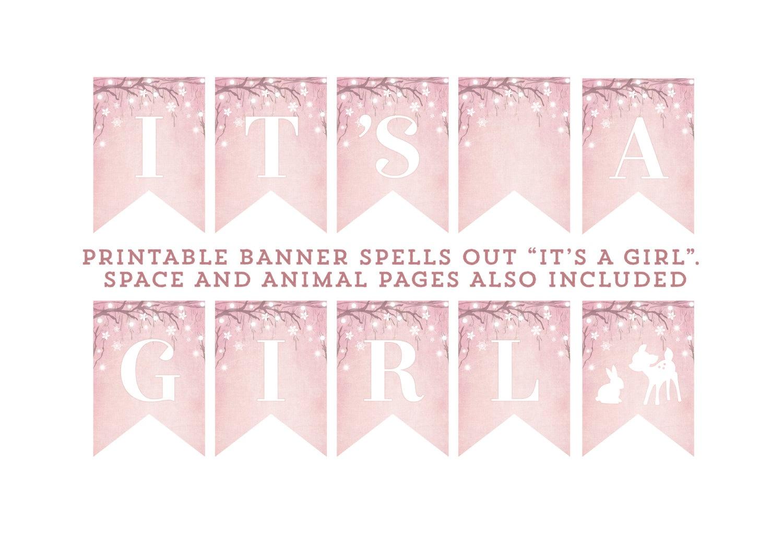 Girl Baby Shower Banner Baby Girl Winter Wonderland Banner   Etsy - Baby Girl Banner Free Printable