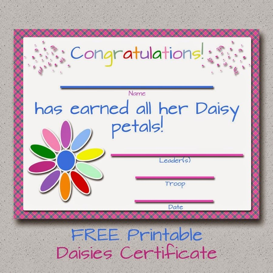 Girl Scouts: Free Printable Daisy Petals Certificate | Girl Scouts - Daisy Girl Scout Certificates Printable Free