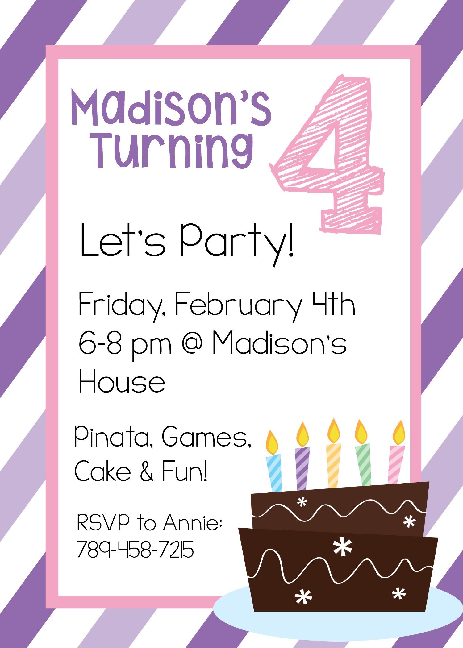 Girls Birthday Party Invitations Templates - Tutlin.psstech.co - Free Printable Girl Birthday Party Invitations