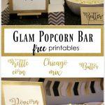 Glam Popcorn Bar, Popcorn Bar, Popcorn Bar Signs, Free Printables   Popcorn Bar Free Printables