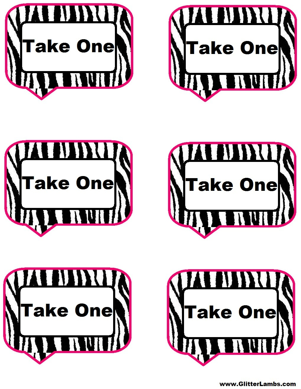 Glitter Lambs: Pink Zebra Food Label Cards And Free Printable - Clip - Free Printable Food Cards