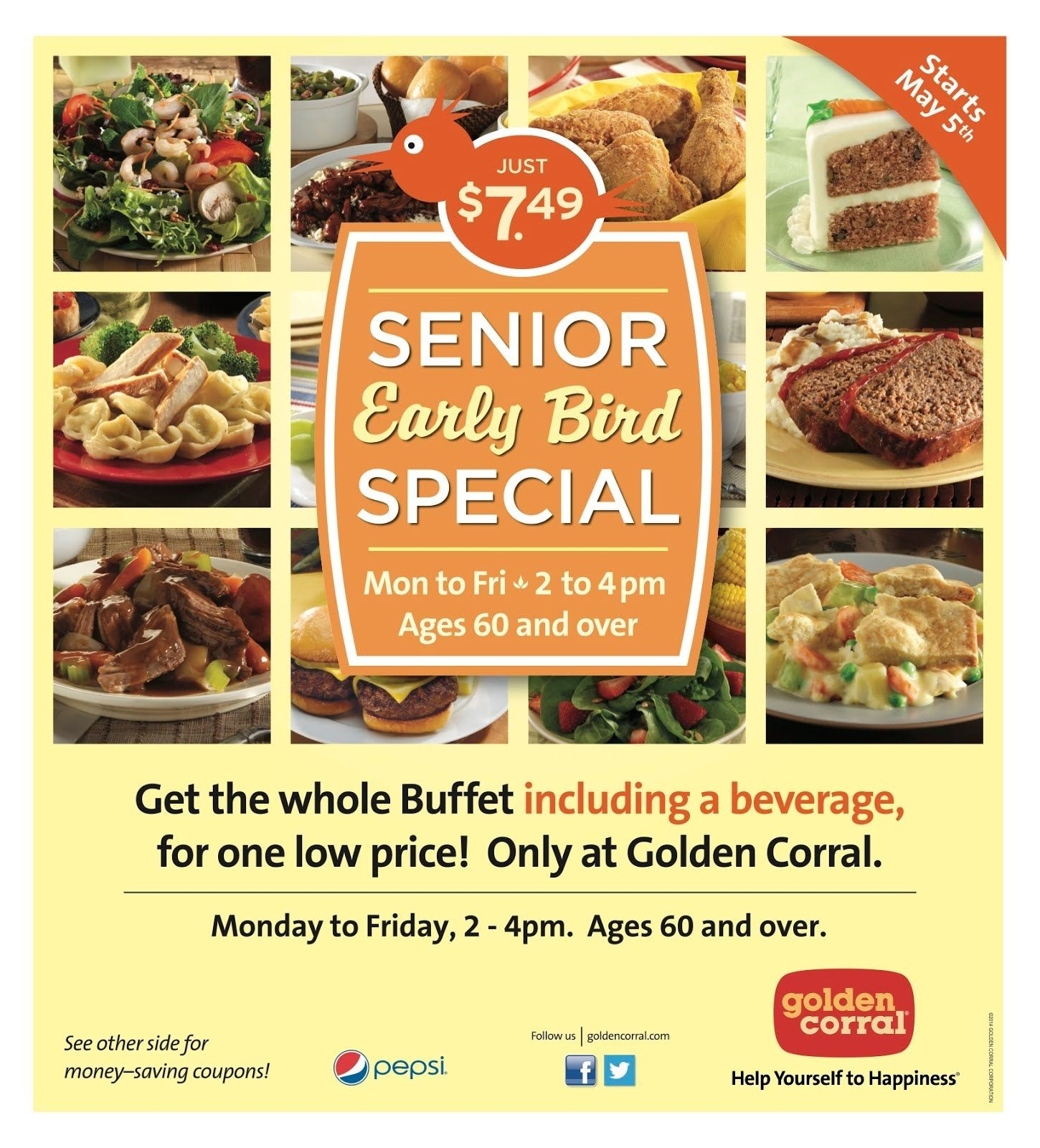 Golden Corral: Senior Early Bird Special, M-F 2-4Pm, 60+, For $7.49 - Golden Corral Coupons Buy One Get One Free Printable