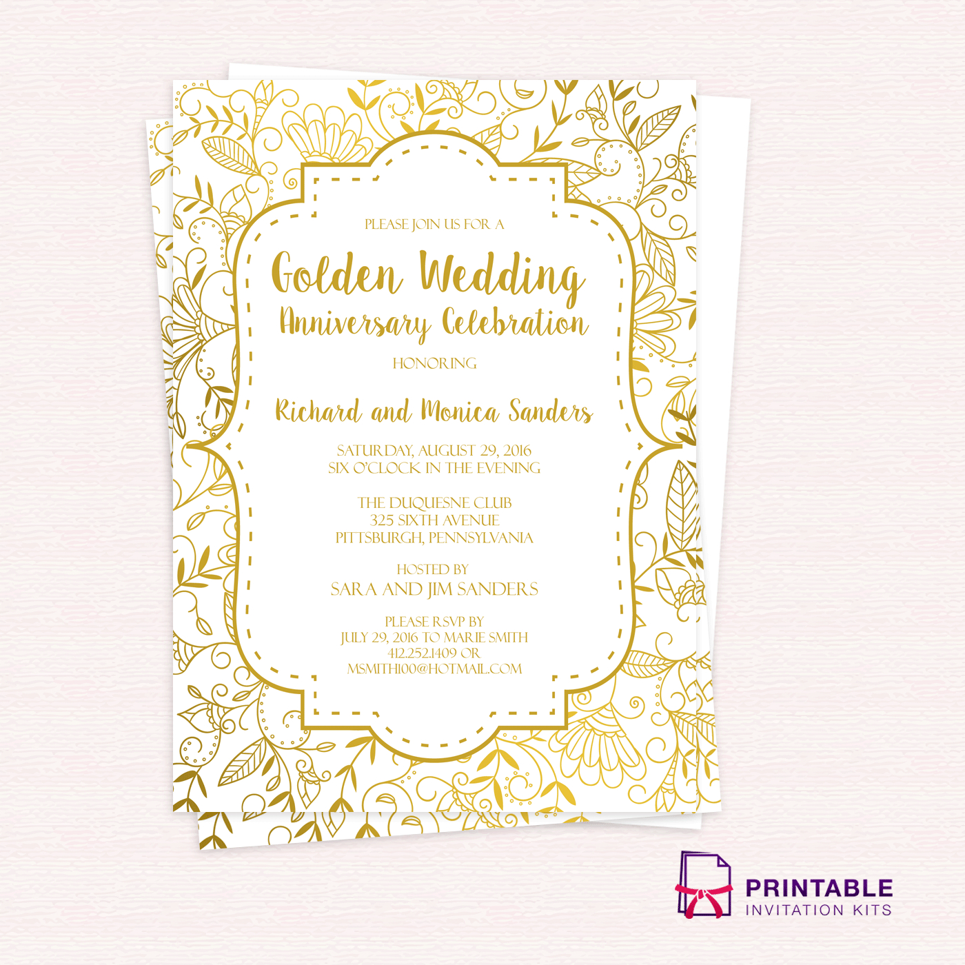 Golden Wedding Anniversary Invitation Template ← Wedding Invitation - Free Printable 50Th Wedding Anniversary Invitation Templates