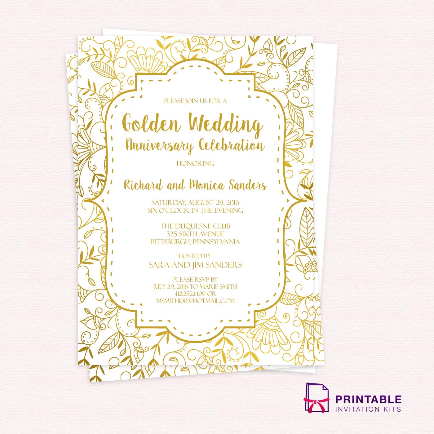 Golden Wedding Anniversary Invitation Template ← Wedding Invitation - Free Printable Wedding Invitation Kits