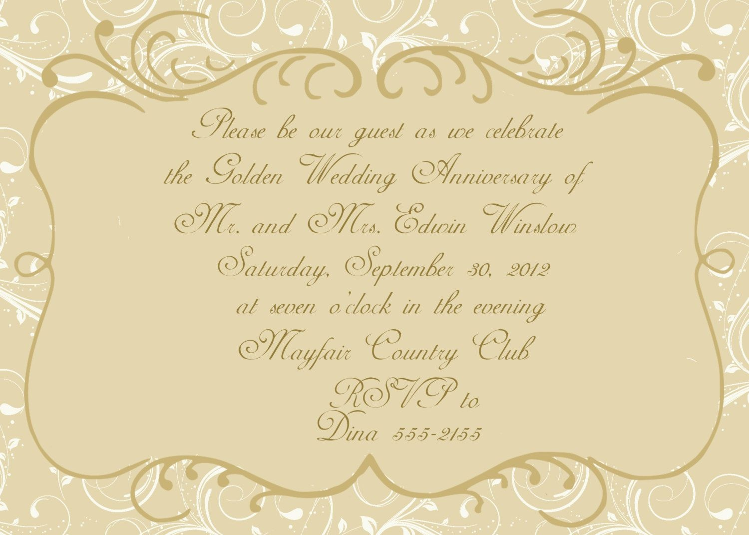 Golden Wedding Anniversary Invitation Templates Free Golden Wedding - Free Printable 50Th Wedding Anniversary Invitation Templates